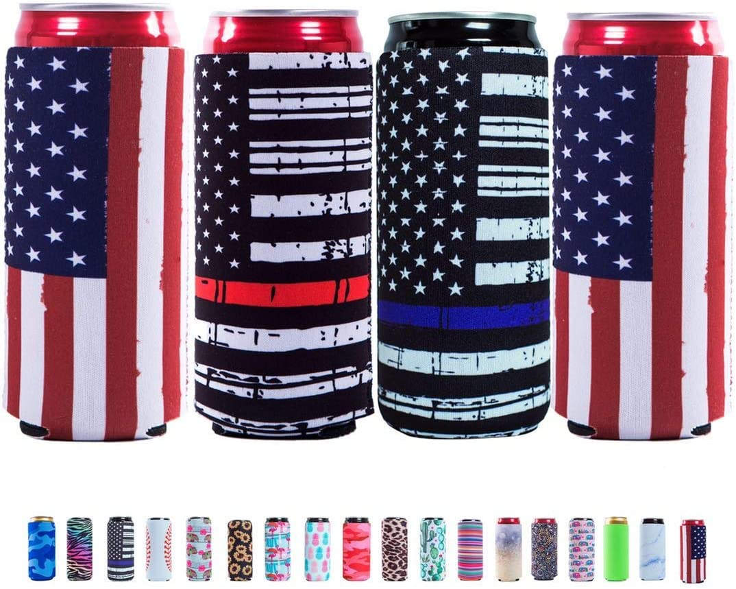 Slim Can Sleeves - Neoprene Bottle Insulator Sleeve Set of 4 Can Beverage Coolers for 12oz Energy Drink & Beer Cans (Flag)