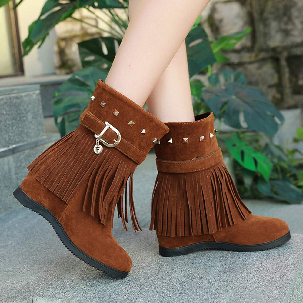 Amazon.com | FORUU Platform Wedge Heel Tassel Women Shoes Increased Platform Fashion Casual Boots | Knee-High