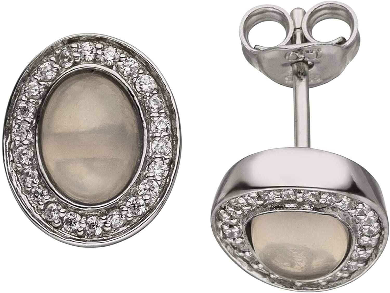 Pendientes ovalados de cuarzo rosa y 44 circonitas de plata 925