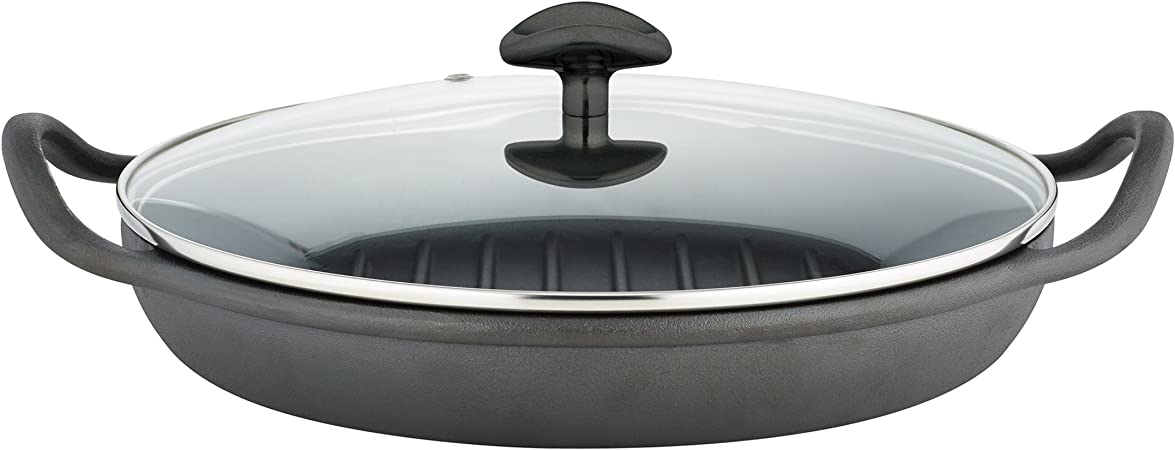 Sabatier Pre-Seasoned Rust Resistant Cast Iron Grill Pan With Glass Lid, 12.25-Inch