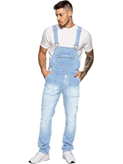 56c30afb0300 Enzo Jeans Mens Denim Stonewash Blue Dungarees Dungaree King Size Overalls  30