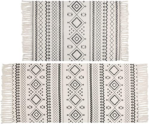 HEBE Cotton Area Rug Set 2 Pieces 2 x3 2 x4.3 Machine Washable Hand Woven Cotton Rugs with Tassel Cotton Throw Rug Runner for Kitchen, Living Room, Bedroom, Laundry Room, Entryway