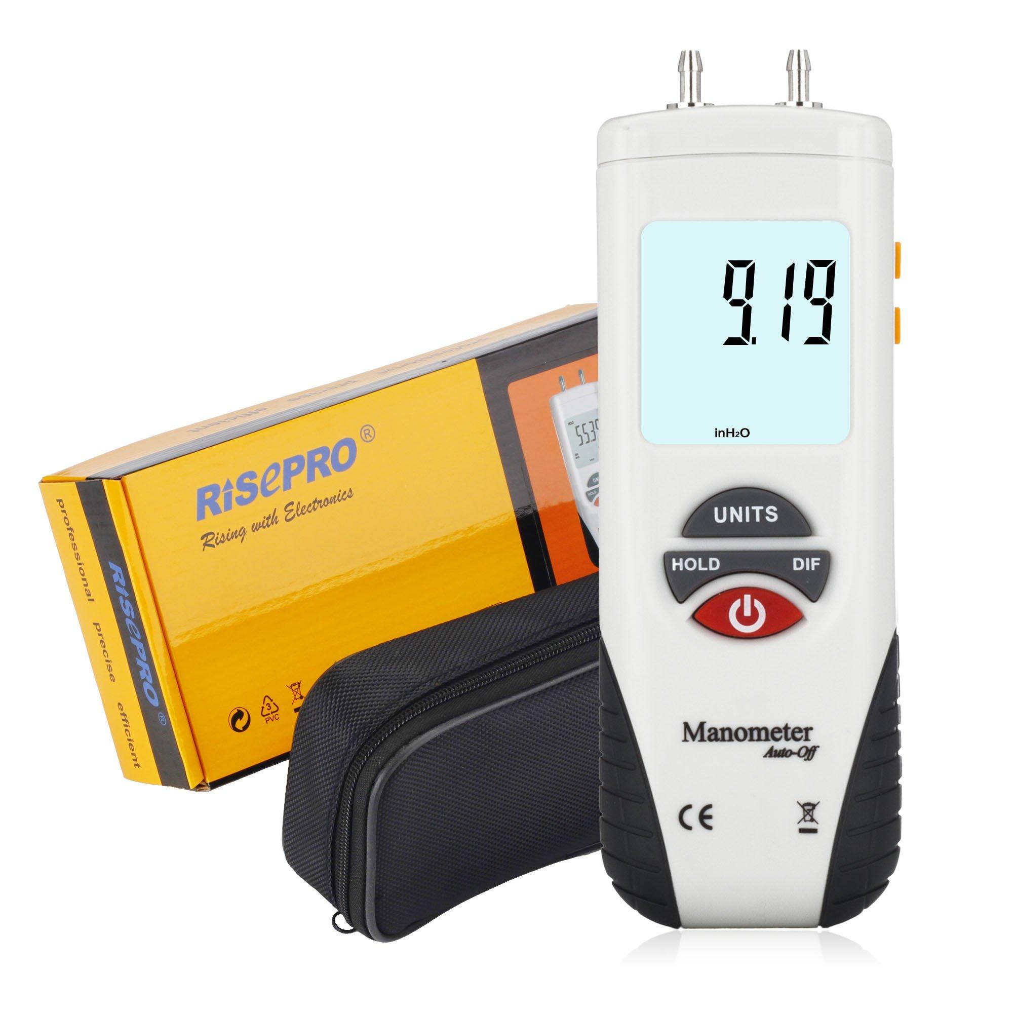 Manometer, RISEPRO Digital Air Pressure Meter and Differential Pressure Gauge HVAC Gas Pressure Tester