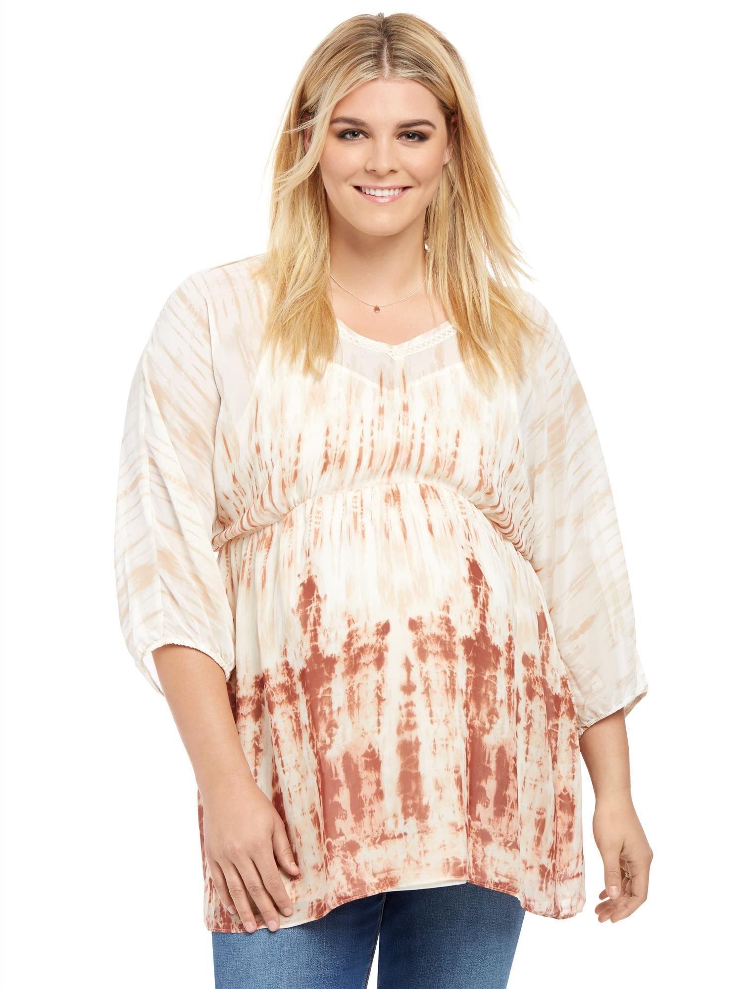 Motherhood Plus Size 3/4 Sleeve Fit And Flare Maternity Blouse,Tye Dye,2X