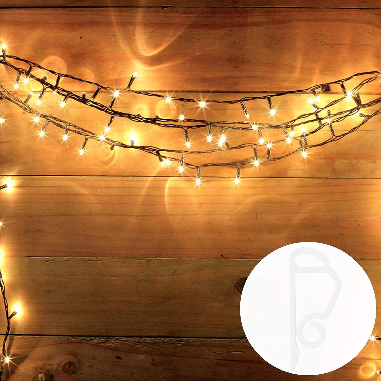 Cabilock 24Pcs Christmas Light Clips Holiday Light Hooks Mini Gutter Light Hanging Hooks Mini Plastic Clip for Icicle Rope Lights Christmas Light Outdoor String Light