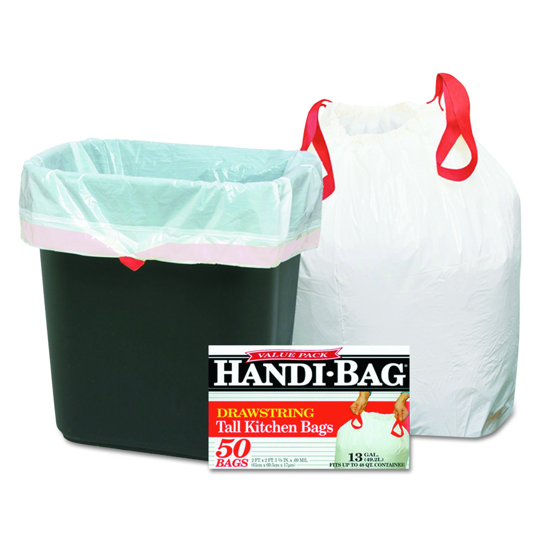 Handi-Bag drawstring tall kitchen bags, 13 Gallon, 61cm*69.5cm, 50/Box