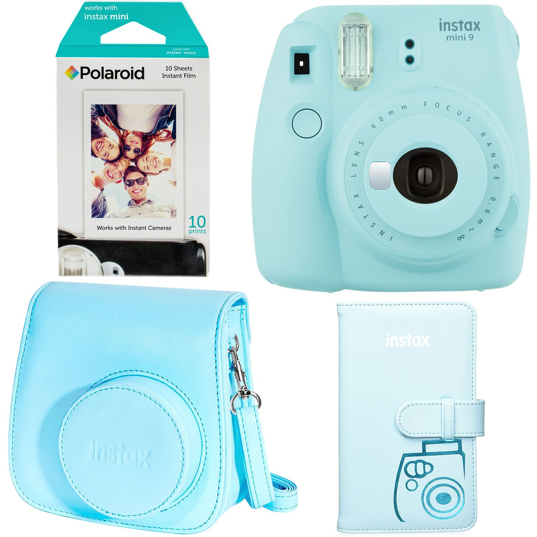 Fujifilm Instax Mini 9 - Ice Blue Instant Camera, Polaroid Instant Mini Film, Fujifilm Instax Groovy Camera Case - Blue and Fujifilm INSTAX WALLET ALBUM 108 BLUE