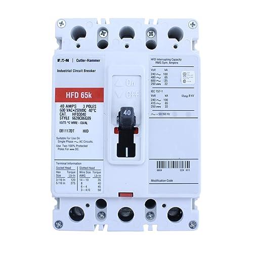 Cutler-Hammer HFD3040 6639C86G89 Circuit Breaker, 3-Pole, 40A, 600V