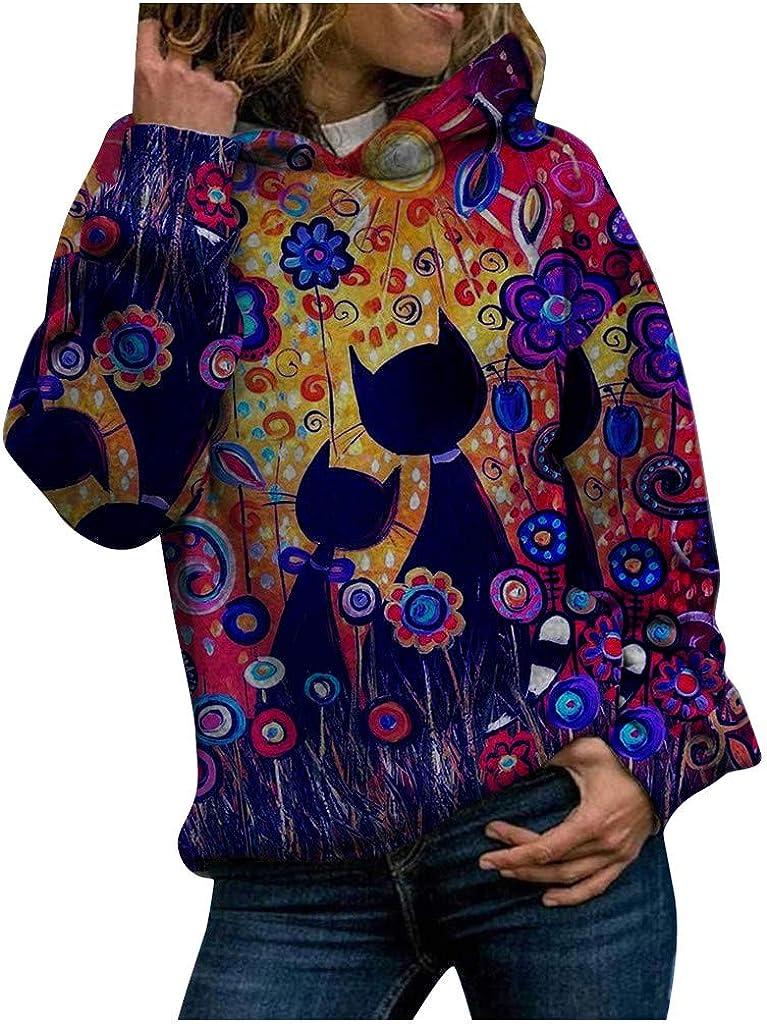Sanyyanlsy Women Hoodies Animal Print Long Sleeves Pullover Blouses Sweatshirt Tops Winter Shirt Tunics