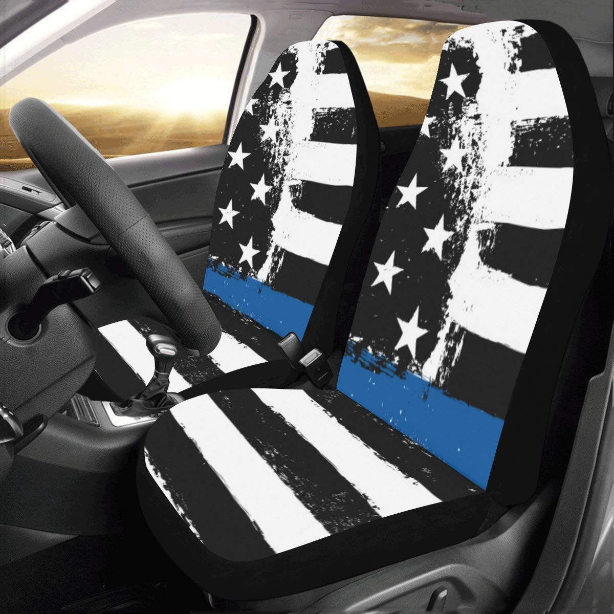 InterestPrint Universal American Flag with Thin Blue Line Two Front Car Seat Covers Set -100% Breathable