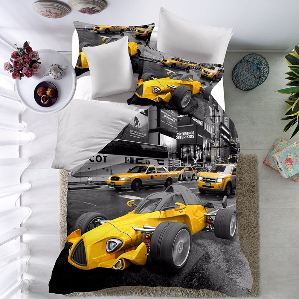 THEE 3D Racing Car Quilt Cover Bedding Duvet Cover Set with Pillow Case(Twin)