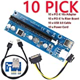 YIKESHU PCIe PCI-E 16x 8x 4x 1x Powered Riser Adapter Card w/ 60cm USB 3.0 Extension Cable & 6-Pin PCI-E to SATA Power Cable - GPU Riser Adapter - Ethereum Mining ETH (10 PCS)