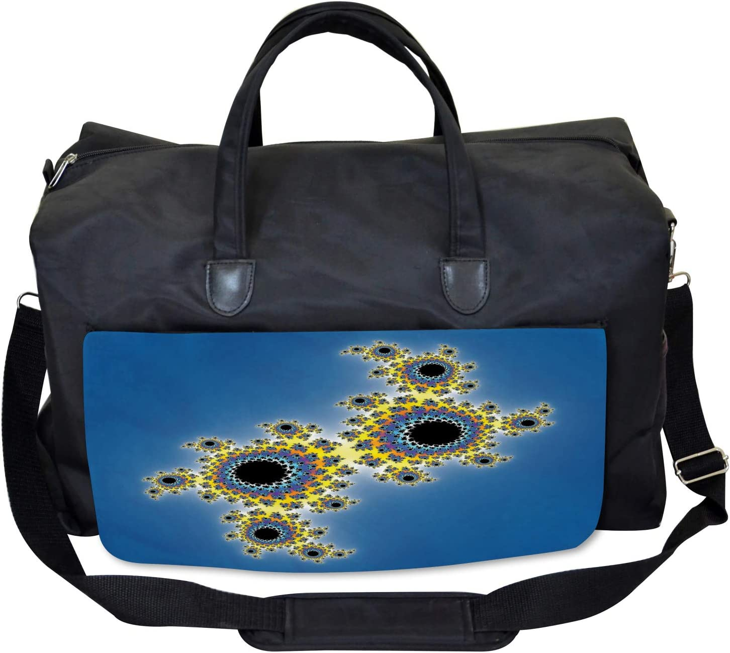 Floral Rotary Lines Large Weekender Carry-on Ambesonne Fractal Gym Bag