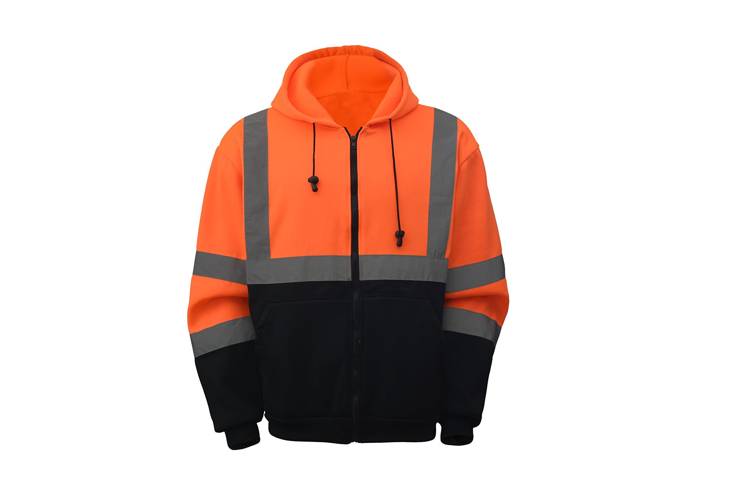 CJ Safety CJHVSS3001 ANSI Class 3 High Visibility Black Bottom Hoodie Safety Sweatshirt (Extra Large, Orange)