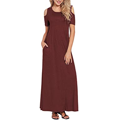 6a3f8a790053 Alaster Queen Women s Cold Shoulder Short Sleeve Loose Dress Casual Summer  Long Maxi Dress with Pockets