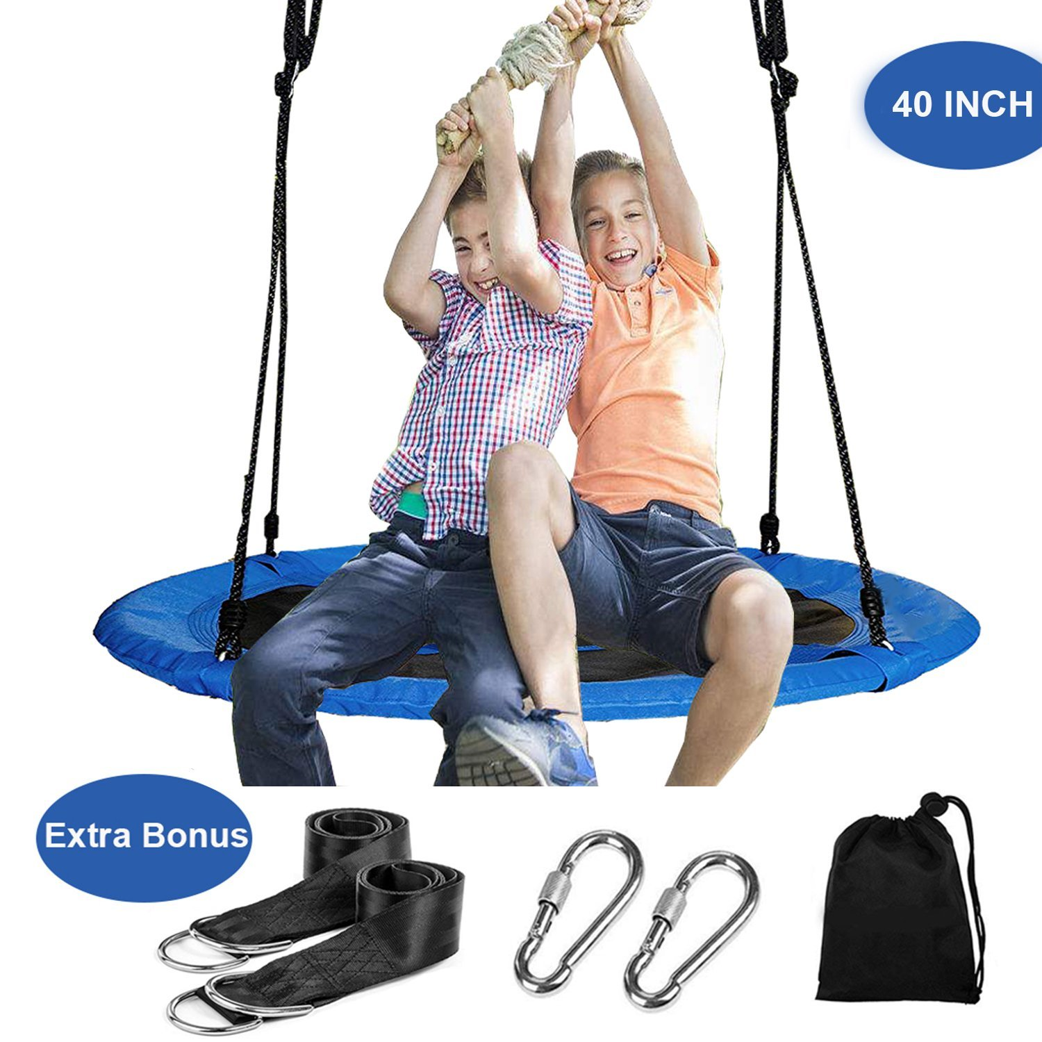 Reliancer 40'' Saucer Tree Swing for Backyard Kids w/ 2 Carabiners&10 FT Tree Swing Straps 600lbs Weight Capacity Weather Resistant 400D Fabric Durable Steel Frame Adjustable Ropes to 63inch(40inch)