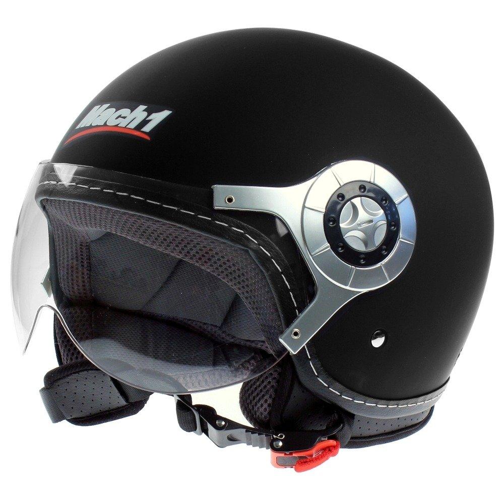 Mach1 - Jet Casco de motorista Moto con visera traslúcida, color negro mate: Amazon.es: Deportes y aire libre
