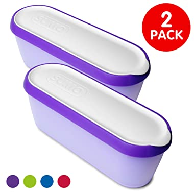 SUMO Ice Cream Containers: Insulated Ice Cream Tub for Homemade Ice-Cream, Gelato or Sorbet - Dishwasher Safe - 1.5 Quart Capacity [Purple, 2-Pack]
