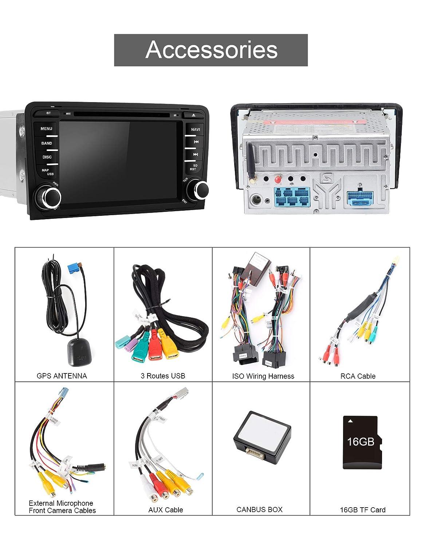 soporta Mirrorlink Carplay Bluetooth Dab+ con Tarjeta de 16 GB Aumume Android 9.0 Radio de Coche para Audi A3//S3 con navegador