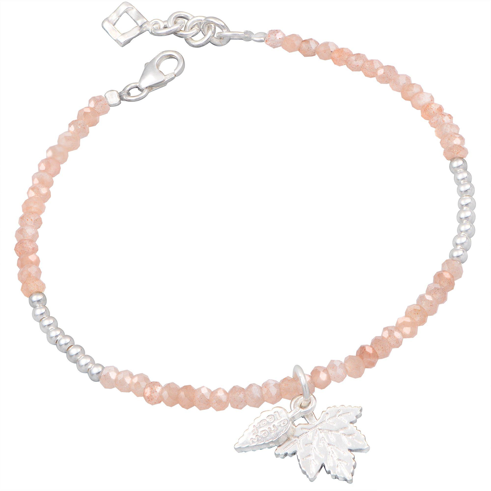 Orange Sunstone Handmade Sliver Gemstone Beads Jewelry Bracelet