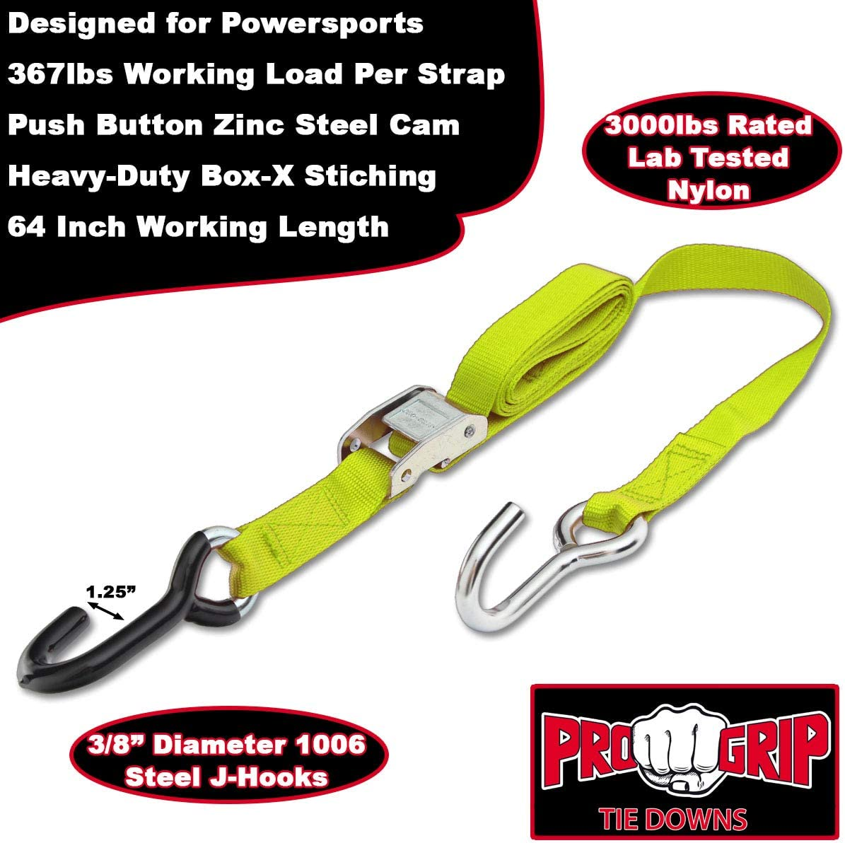 Orange Progrip Powersports Motorcycle Tie Down Straps Lab Tested 2 Pack