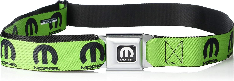Belt Seatbelt Buckle Mopar Logo Repeat Green Black 32 to 52 Inches
