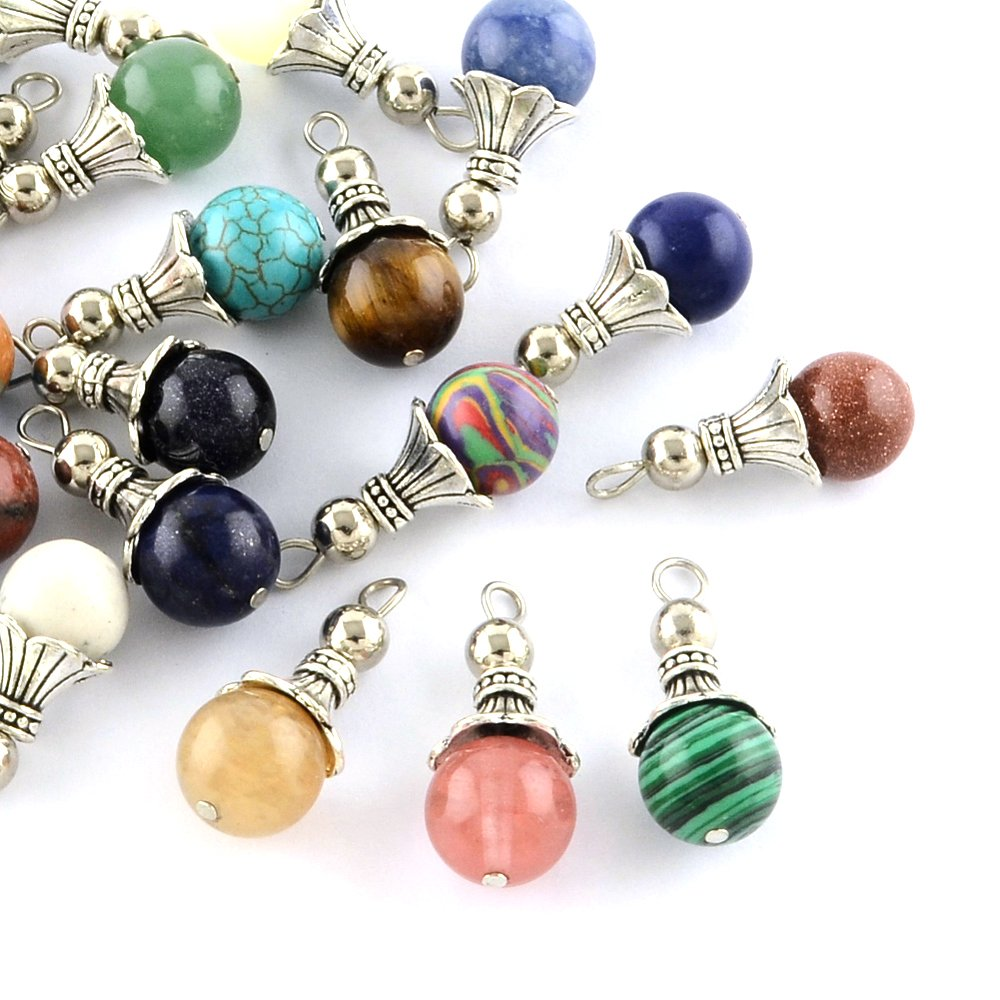 Kissitty 50-Piece Natural & Synthetic Dangle Gemstone Charms 1.16x0.49'' with Antique Silver Bead Caps 2.5mm Hole for DIY Jewelry Craft Making (Random Mixed) by KISSITTY