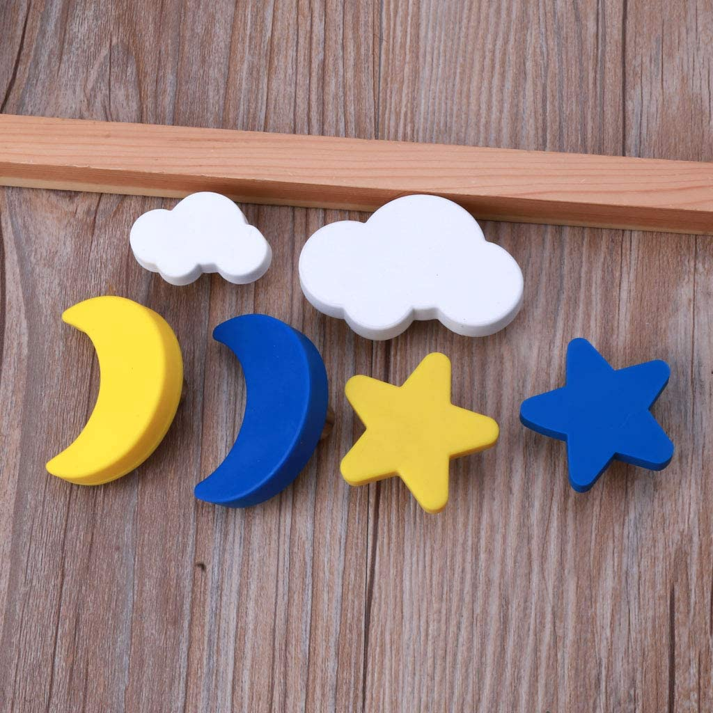 poign/ées en caoutchouc souple Boutons de porte de chambre denfant lune tiroir 1 motif /étoile nuage