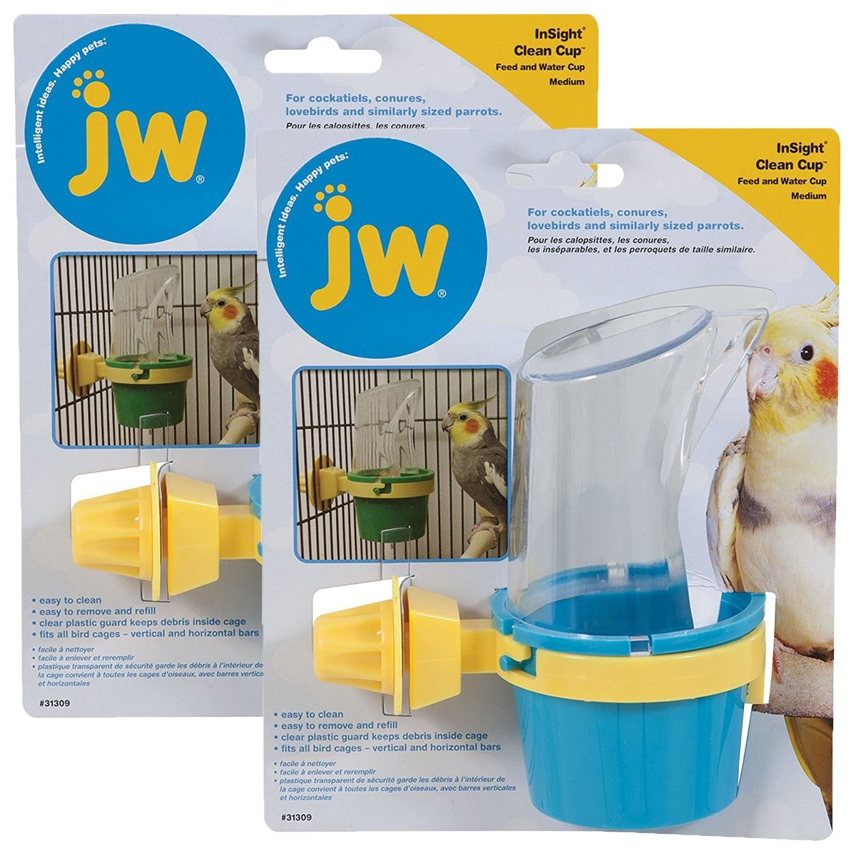 JW Pet Company Clean Cup Feeder and Water Cup Bird Accessory, Medium, Colors may vary by JW Pet
