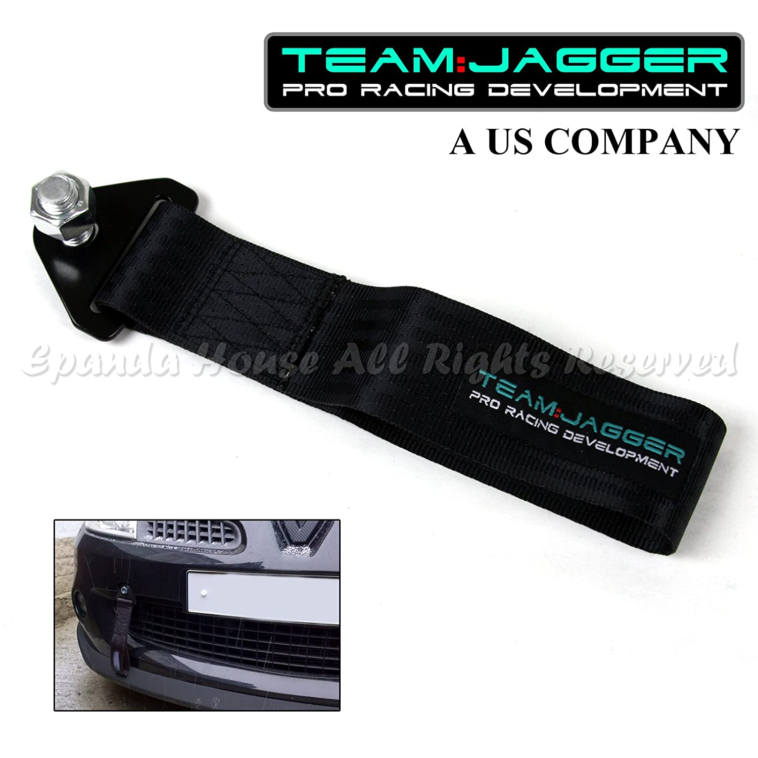 For Dodge Only! JDM Style 14mm Alloy Bolts Front Tow Towing Nylon Strap Metal Black EpandaHouse