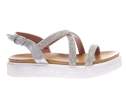 Caf Noir GH911 scarpa sandalo incrocio donna argento strass
