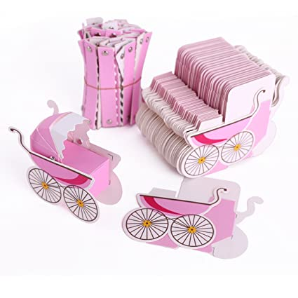 Set de 50 Cajitas de boda con forma de Cochecito Bebé para dulces regalos bombones detalles Color Rosa