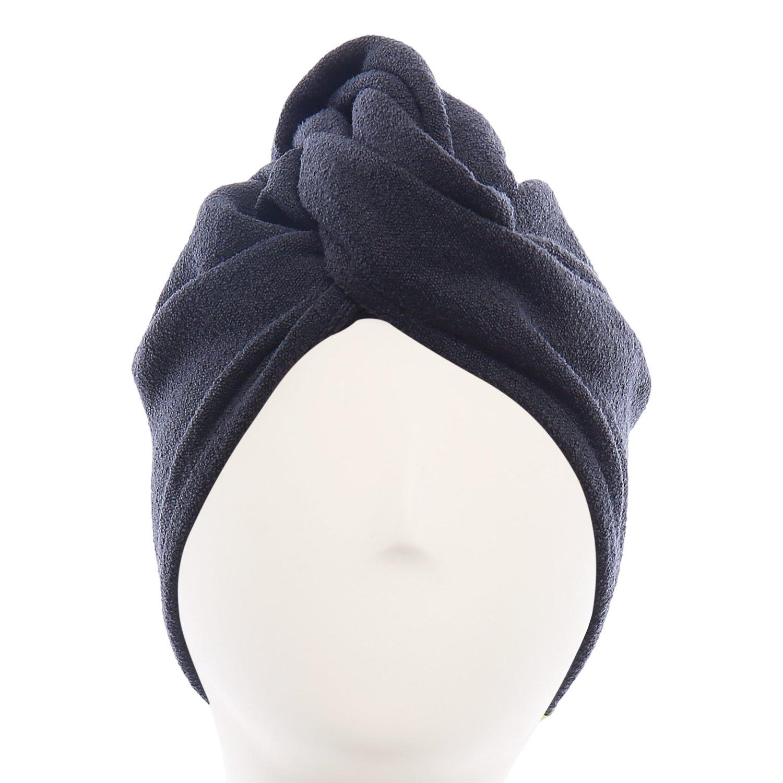 Aquis - Original Hair Turban, Patented Perfect Hands-Free Microfiber Hair Drying, Black (10 x 26 Inches)