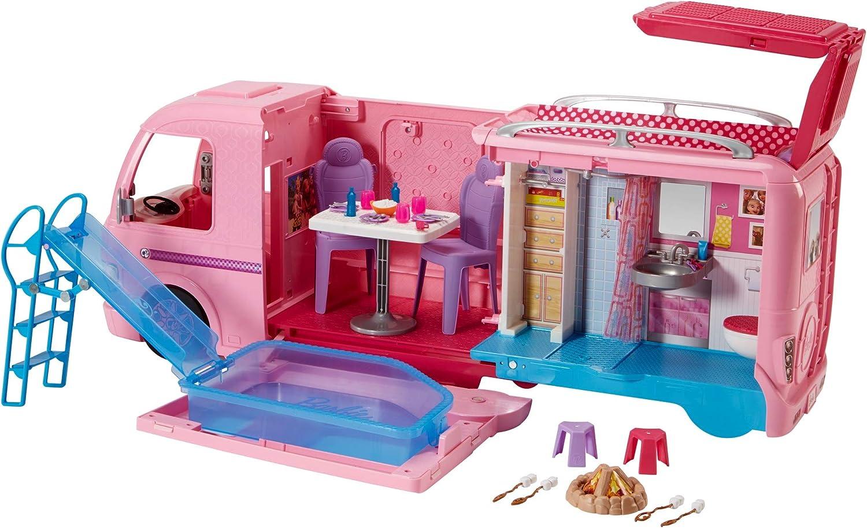 camper dei sogni barbie –  Barbie FBR34 Camper dei Sogni per Bambole con Piscina, Bagno, Cucina e Tanti Accessori, Giocattolo per Bambini 3 + Anni,,