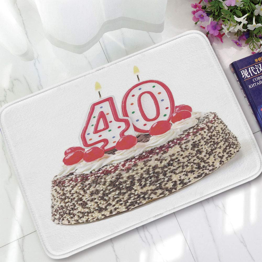 YOLIYANA Polyester Carpet,40th Birthday Decorations,for Meeting Room Dining Room,15.75''x23.62'',Yummy Desert Sweet Party Cake Burning