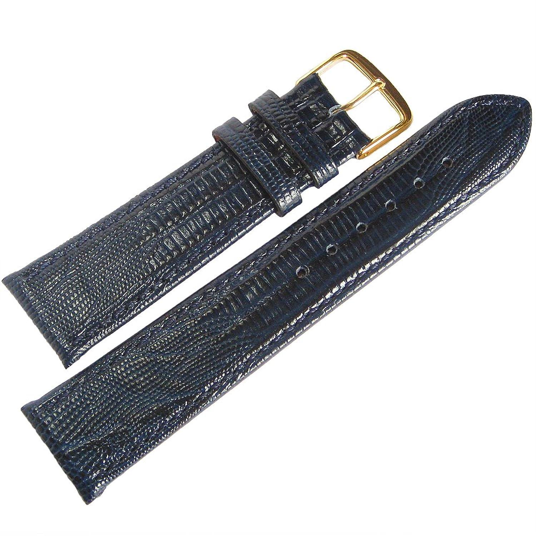Fluco Short Teju lizard-grain 16 mmブルーレザーゴールドバックルgerman-madeメンズ腕時計ストラップ  B06W527WDB