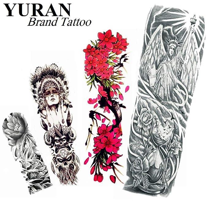 4 Hojas Indios, Guerrero, Mujer, Tatuaje Temporal, Brazo Completo ...