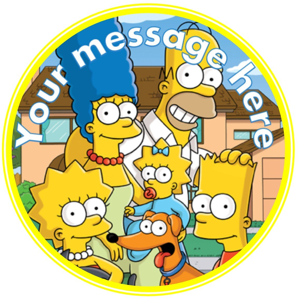Outstanding Nd1 The Simpsons Birthday Personalised Round Cake Topper Approx Funny Birthday Cards Online Alyptdamsfinfo