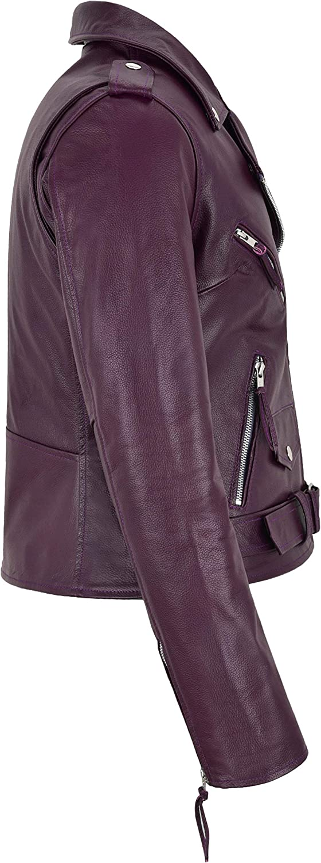 Ladies Brando Real Leather Jacket Purple 100/% Cowhide Smart Fit Biker Style MBF