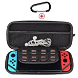 Nintendo Switch Carrying Case PU Hard Shell Black Zip Bag Portable Travel Carry Protective Storage Pouch Anti Shock with Game Storage Slots (Black)