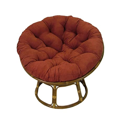 Rattan Papasan Chair With Tufted Foam Cushion   Modern Indoor Living Room  Accent Seat (Cardinal