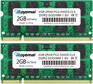 ROYEMAI 4GB Kit(2x2GB) DDR2 667 PC2-5300 SODIMM 1.8V CL5 RAM Memory Upgrade Module