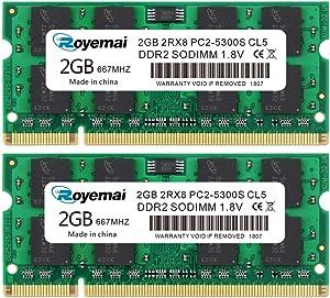 ROYEMAI 4GB Kit(2x2GB) DDR2 667 PC2-5300 SODIMM 1.8V CL5 RAM Memory Upgrade Module