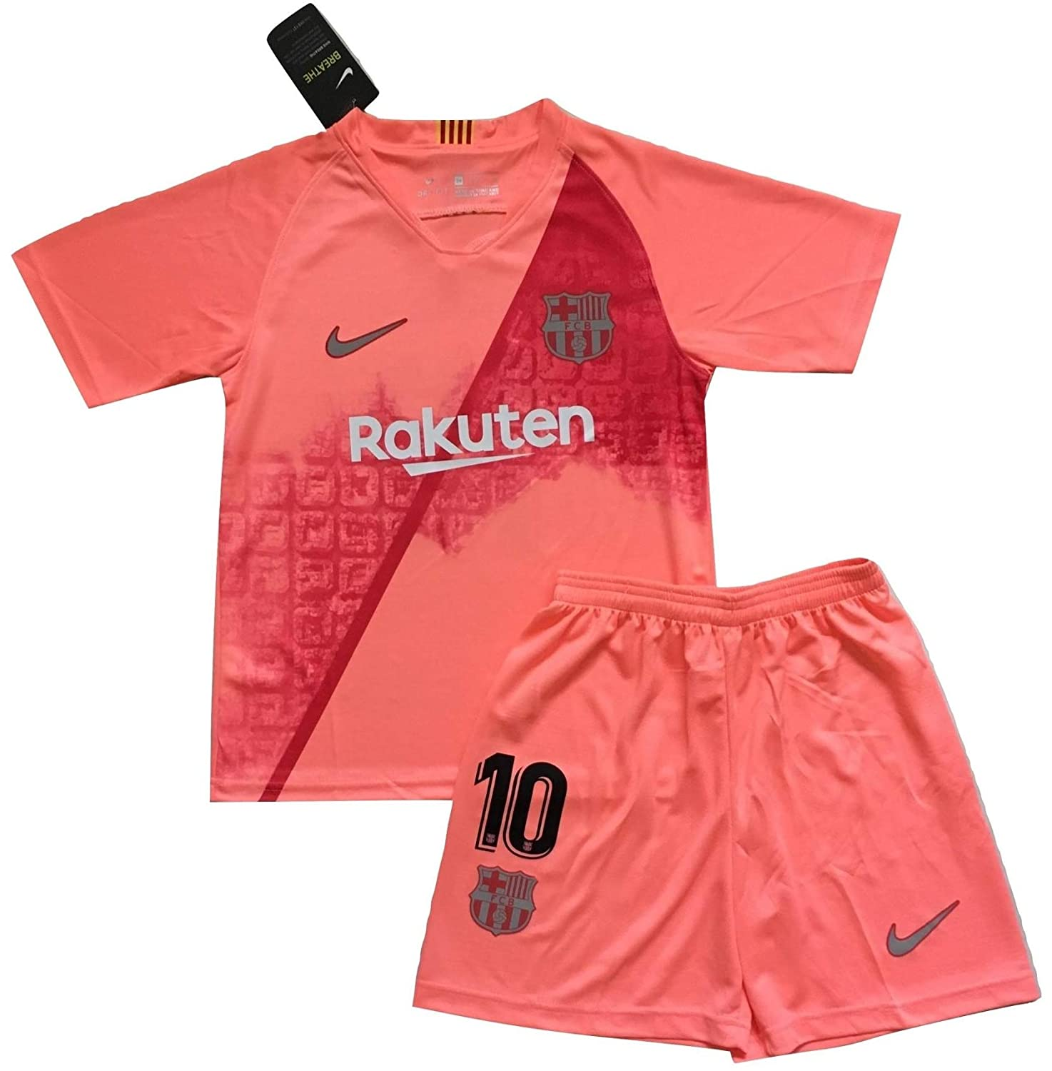 buy popular e65e2 93e52 Messi #10 FC Barcelona 2018/2019 3rd Champions League Jersey and Shorts for  Kids/Youths