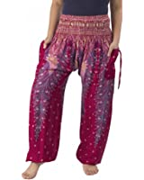 Lannaclothesdesign Women's Smocked Peacock Pants Comfortable Thai Pants