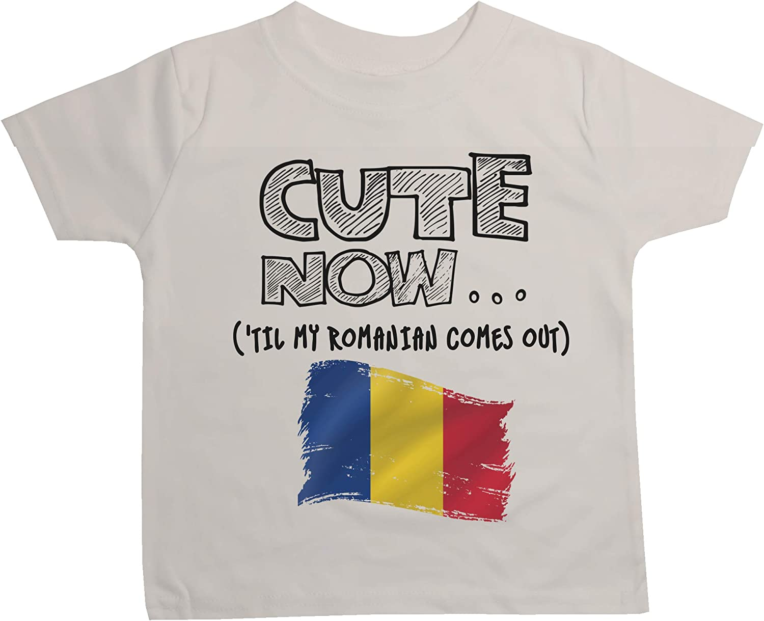 Cute Now Toddler Romania T-Shirt Til My Romanian Comes Out Kids Shirt Top in White 2T-4T