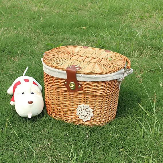 Brown VOSAREA Bike Wicker Baskets Handlebar Bike Basket Wicker Front Handlebar Bike Basket with Lid and Handle Bicycle Accessory