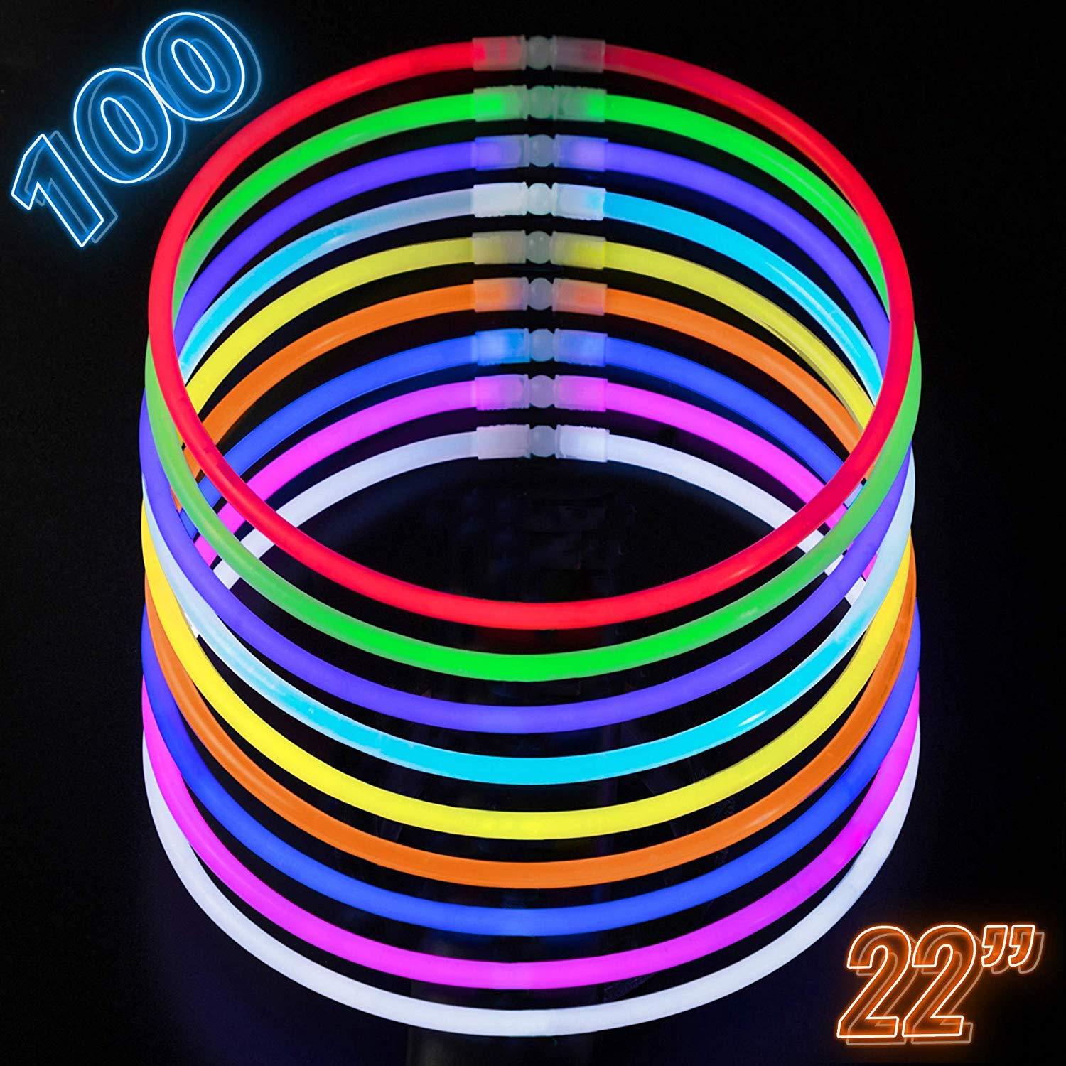 Glow Necklaces Bulk Party Supplies - 100 Glow in the Dark Necklaces - 22 Inch Glow Sticks - Extra Bright Neon Glow Necklace - Strong 6mm Thick - 9 Vibrant Neon Colors - Stuffers for Kids - Mix