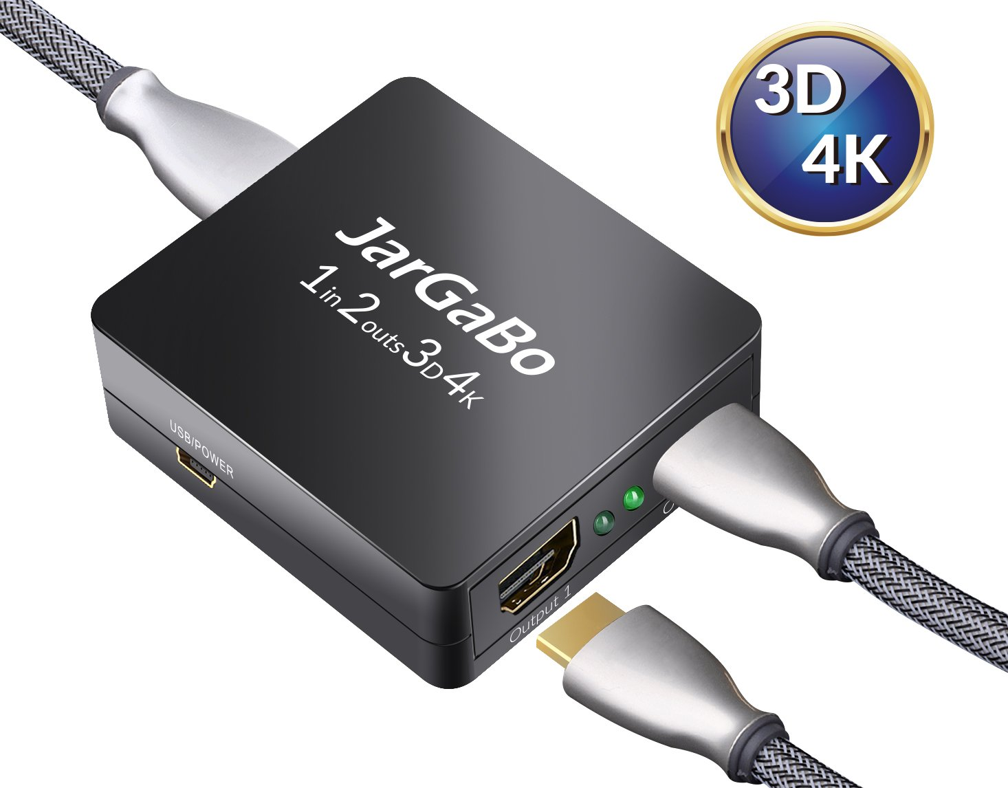 HDMI Splitter 1 in 2 out, JarGaBo 1x2 HDMI Splitter Dual Monitor Supports  HD 1080P 3D and 4K with USB Cable, Black