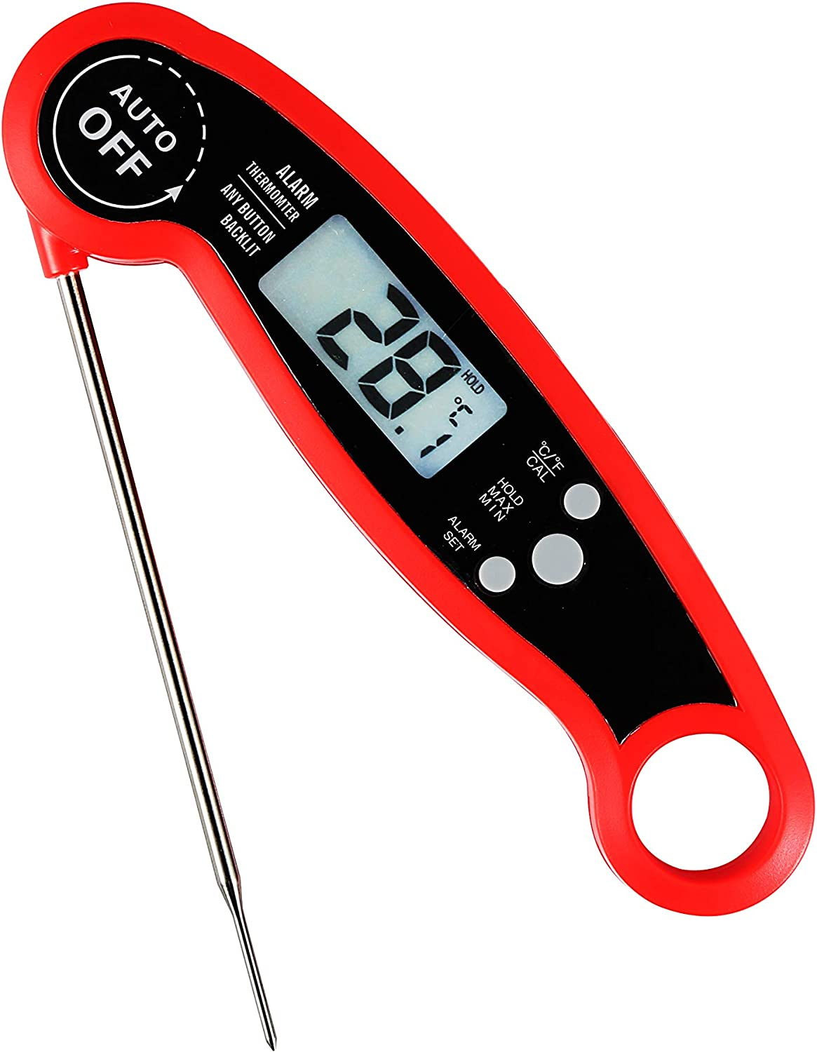 Instant Read Meat Thermometer - Best Waterproof Ultra Fast Thermometer with Backlight & Calibration. Digital Food Thermometer for Kitchen, Outdoor Cooking, BBQ, and Grill! (Red)